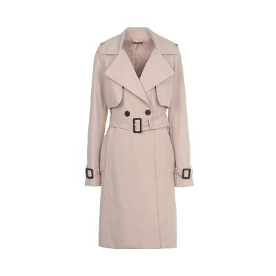 double button trench coat pink